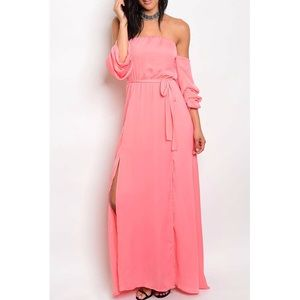 Dresses & Skirts - 🆕 Celine Coral Off The Shoulder Maxi Dress